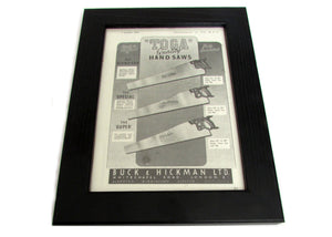 1950's Framed Toga Saws Picture - Size: A5 - OldTools.co.uk