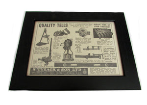 1950's Framed Tyzack Tools Pictures - Size: A5 - OldTools.co.uk