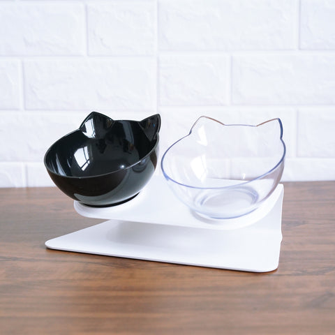 Cat Face Food and Water Dishes with Stand - Catsup Cat Co