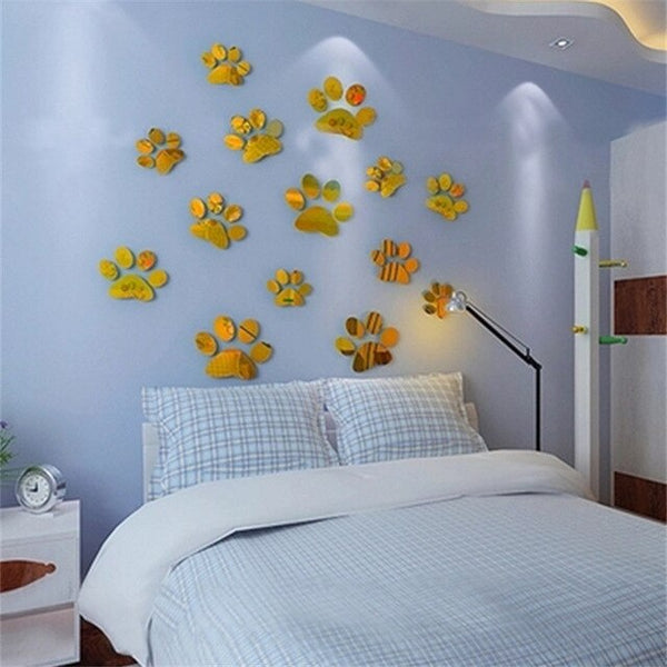 Acrylic Mirror Paw Print Wall Sticker - Catsup Cat Co