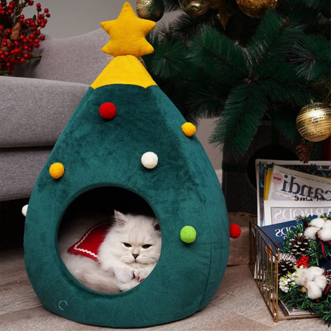 Christmas Tree Cat Bed - Catsup Cat Co
