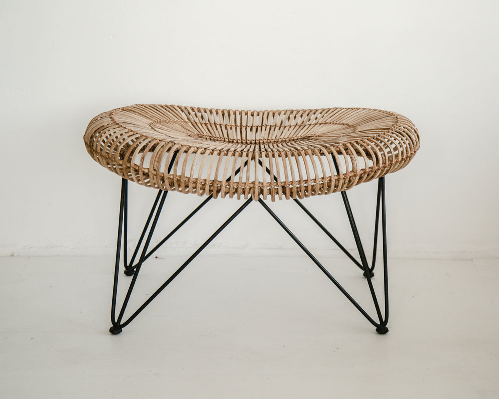 Load image into Gallery viewer, OVAL RATTAN STOOL