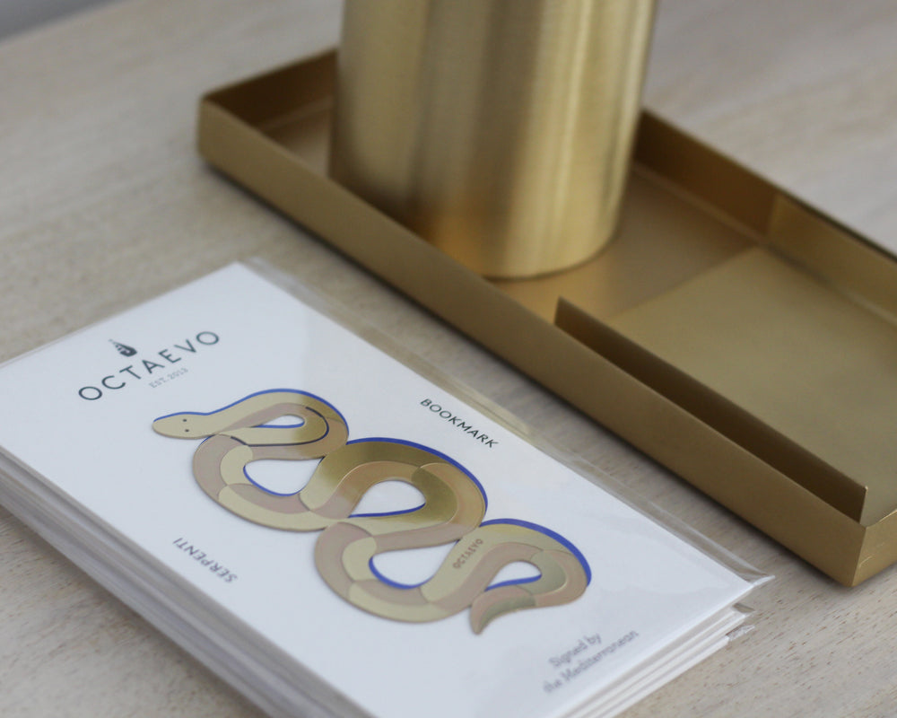 Load image into Gallery viewer, OCTAEVO | METAL BOOKMARK | SERPENTI BRASS