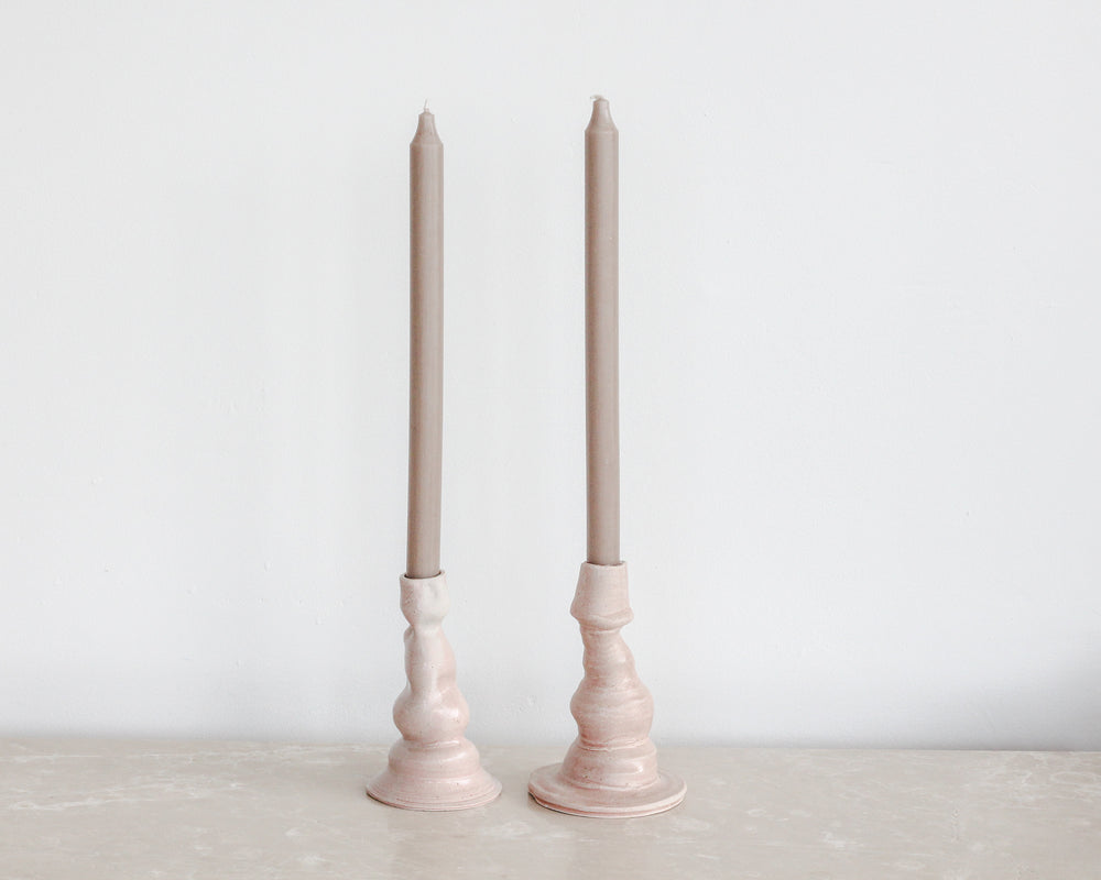 Load image into Gallery viewer, PINK PARCHMENT CANDLESTICKS