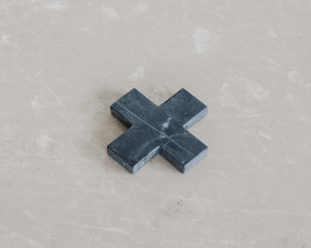 MARBLE CROSS COASTER | BLACK