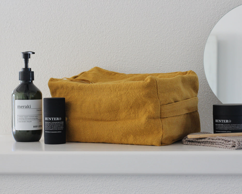 Load image into Gallery viewer, LINEN TOILET BAG | MUSTARD