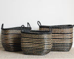NARROW STRIPE BASKET WITH HANDLES