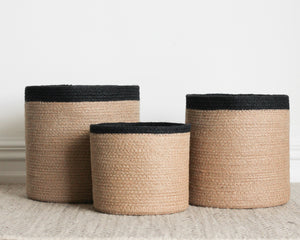 BLACK RIMMED BASKETS | 3 SIZES
