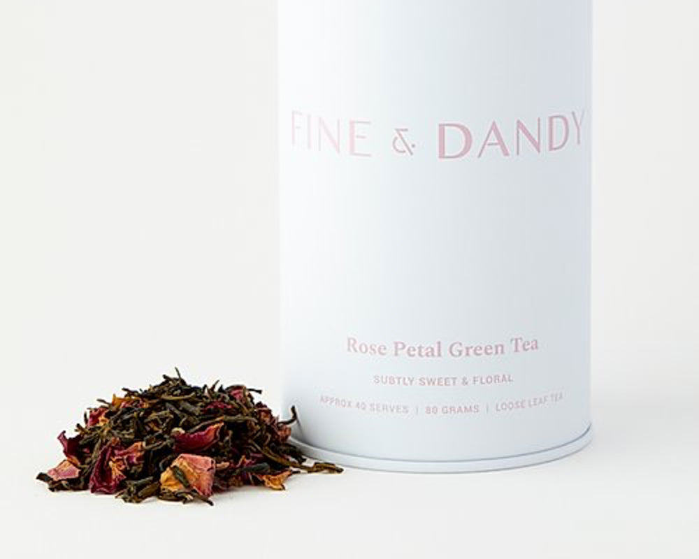 FINE & DANDY | ROSE PETAL GREEN TEA | TIN
