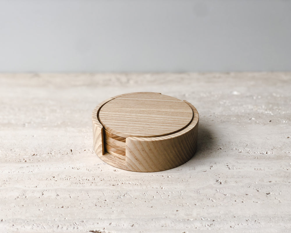 NATURAL OAK COASTER SET