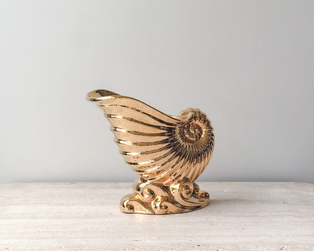 VINTAGE GOLD SHELL VASE | ROYAL WINTON