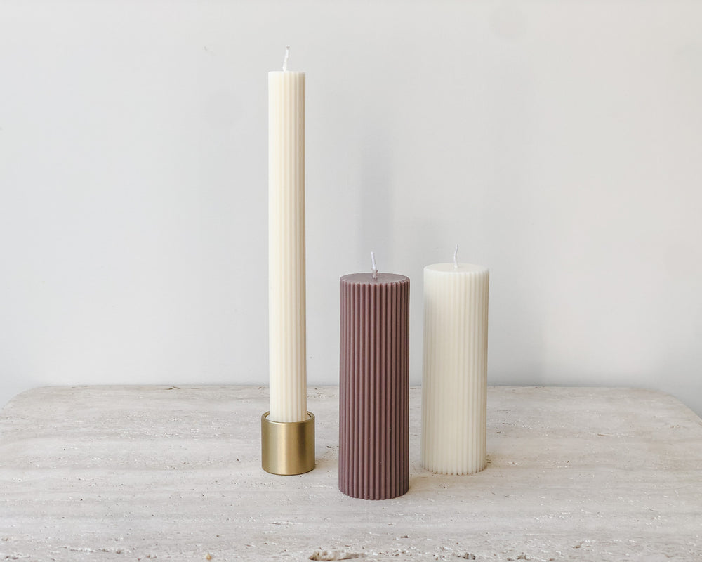 Load image into Gallery viewer, BRASS PILLAR CANDLE & INCENSE HOLDER