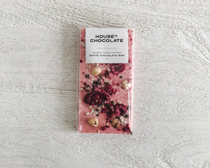 Load image into Gallery viewer, HOUSE OF CHOCOLATE | RASPBERRY, HAZELNUT & CACOA WHITE CHOCOLATE BAR