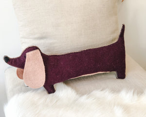 Load image into Gallery viewer, MUSKHANE SAUSAGE DOG CUSHION | AUBERGINE