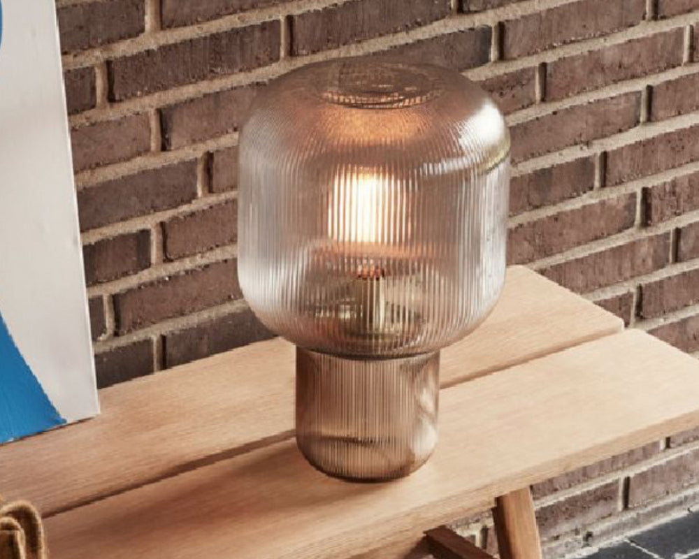 HUBSCH TABLE LAMP | GROOVED SMOKE