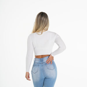 Ivory Ribbed Turtle Neck Crop