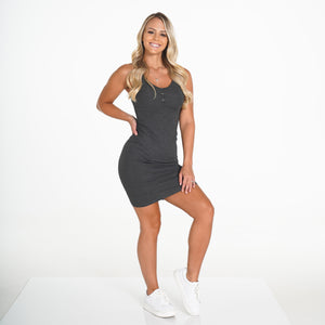 Charcoal Ribbed Midi Tank Dress