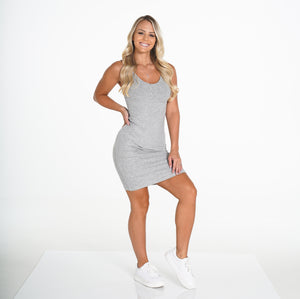 Light Grey Ribbed Midi Tank Dress