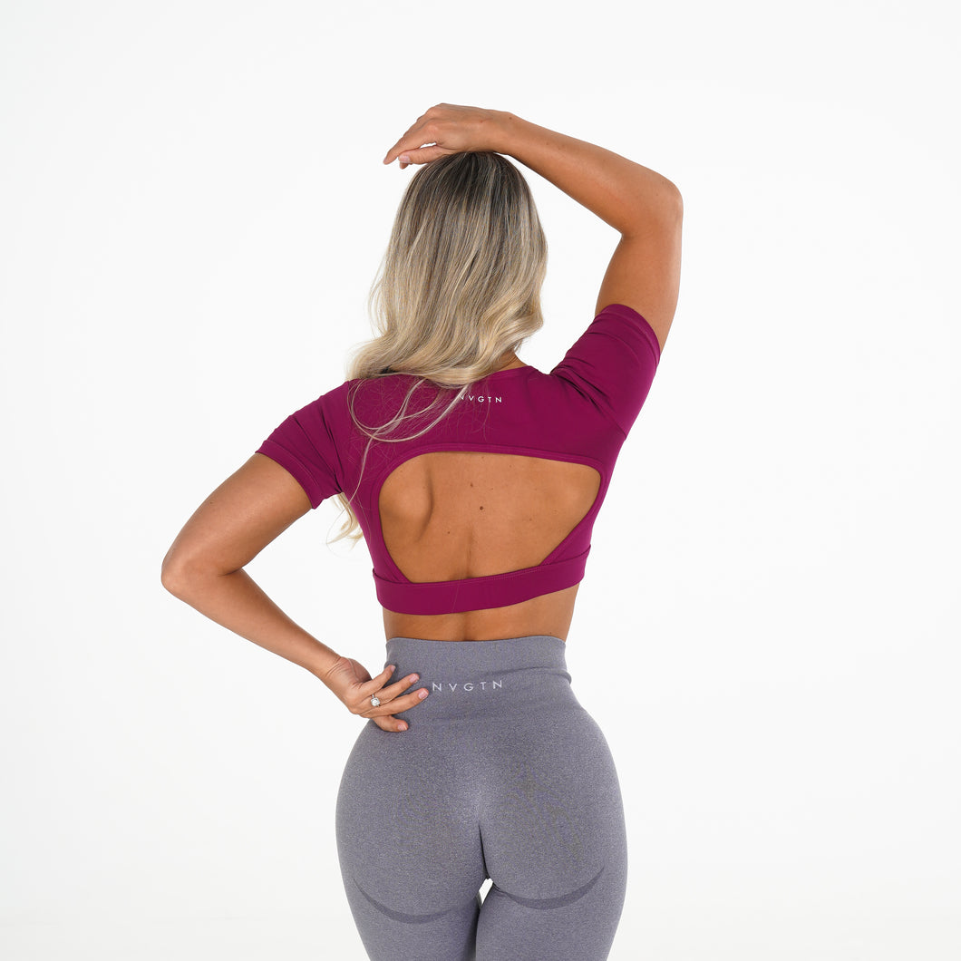 Berry Open Back Tee