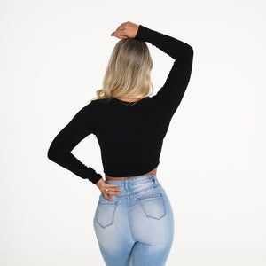 Black Essentials Ribbed Crop