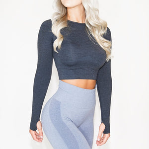Black Seamless Long-Sleeve Crop