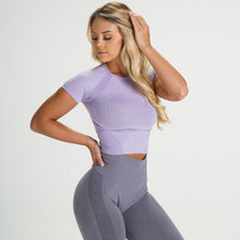 Load image into Gallery viewer, Lilac Seamless Short-Sleeve Crop
