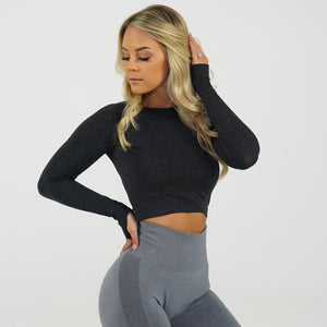 Midnight Glimpse Long-Sleeve Crop