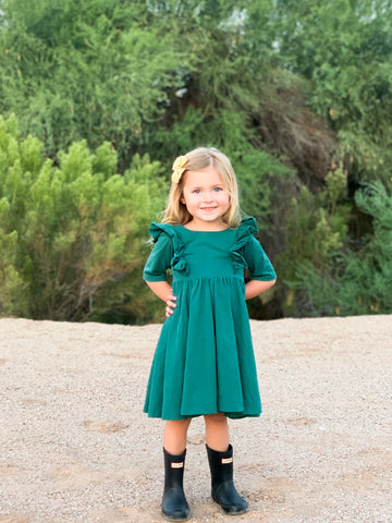 Winter Jade Twirl Dress