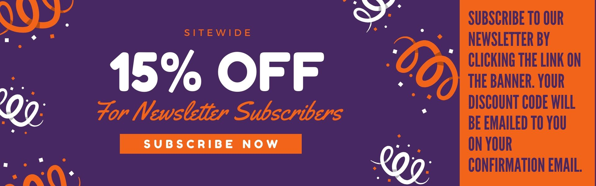 15% off email newsletter subscription
