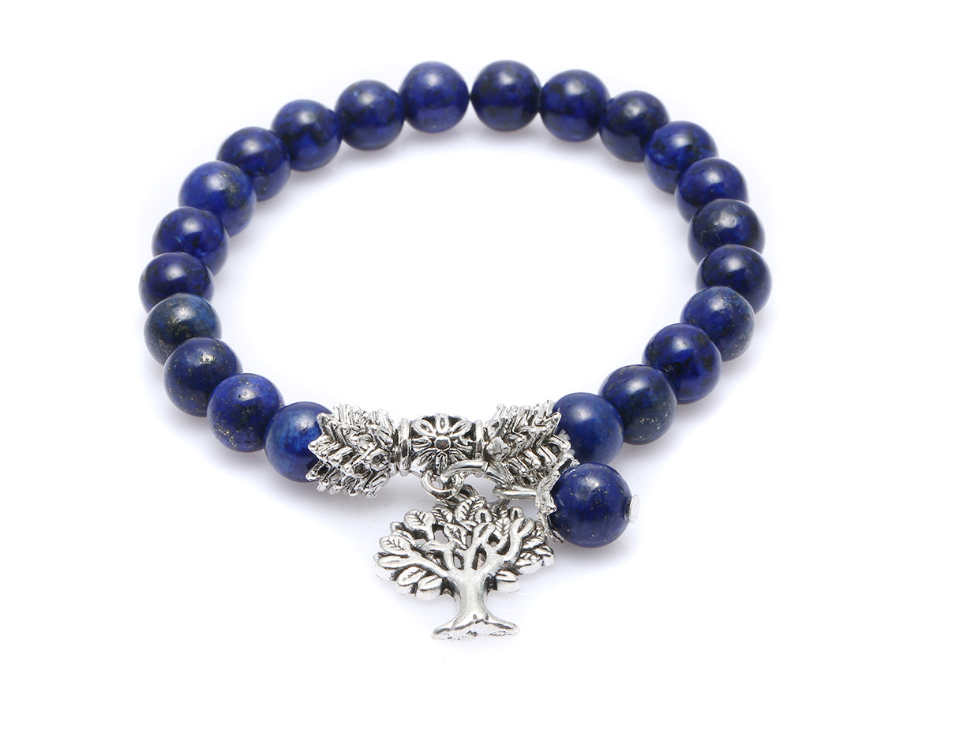 Lapis Lazuli Tree of Life Beaded Bracelet