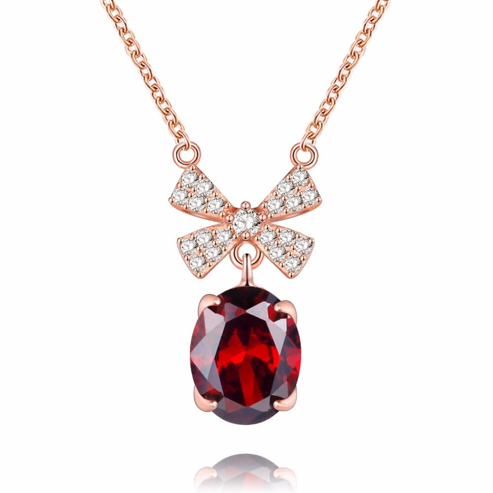 Red Garnet 925 Sterling Silver Bow Knot-Pendalace [Buy Now]
