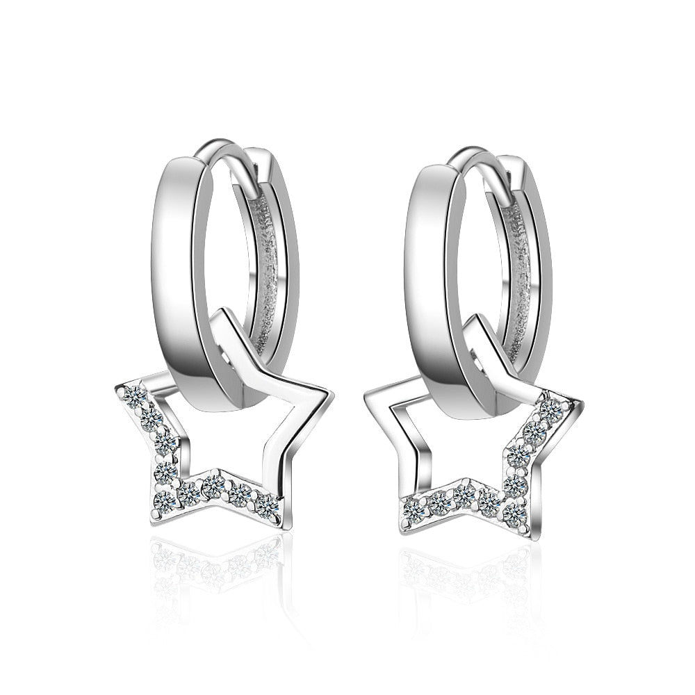Star Fashion Earring With Zircon & Sterling Silver