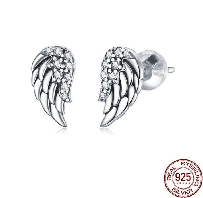 Sterling Silver Stud Earrings (Wings Design)
