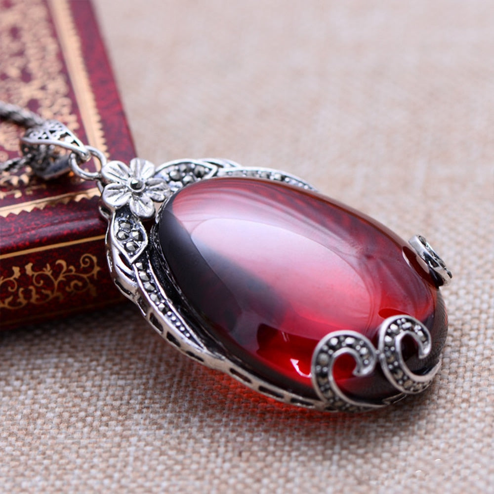 Red Garnet 925 Sterling Silver Water Drop I-Pendalace [Buy Now]