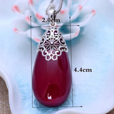 Red Garnet 925 Sterling Silver Water Drop II-Pendalace [Buy Now]