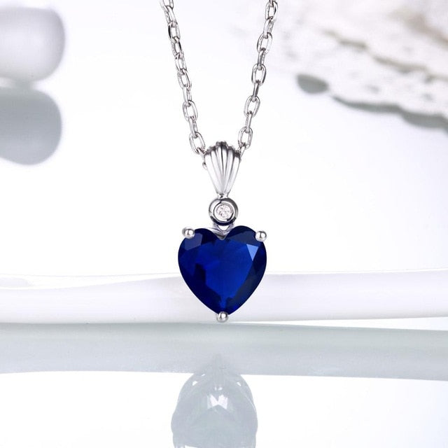 Sapphire+Diamond Heart-Shaped Pendants-Pendalace [Buy Now]