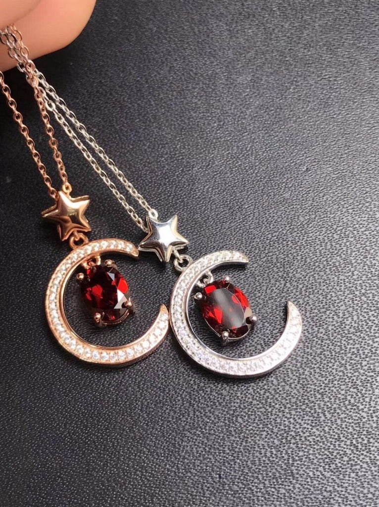 Red Garnet 925 Sterling Silver Crescent Moon-Pendalace [Buy Now]