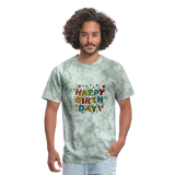 Happy Birthday T-Shirt - military green tie dye