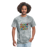 Happy Birthday T-Shirt - grey tie dye