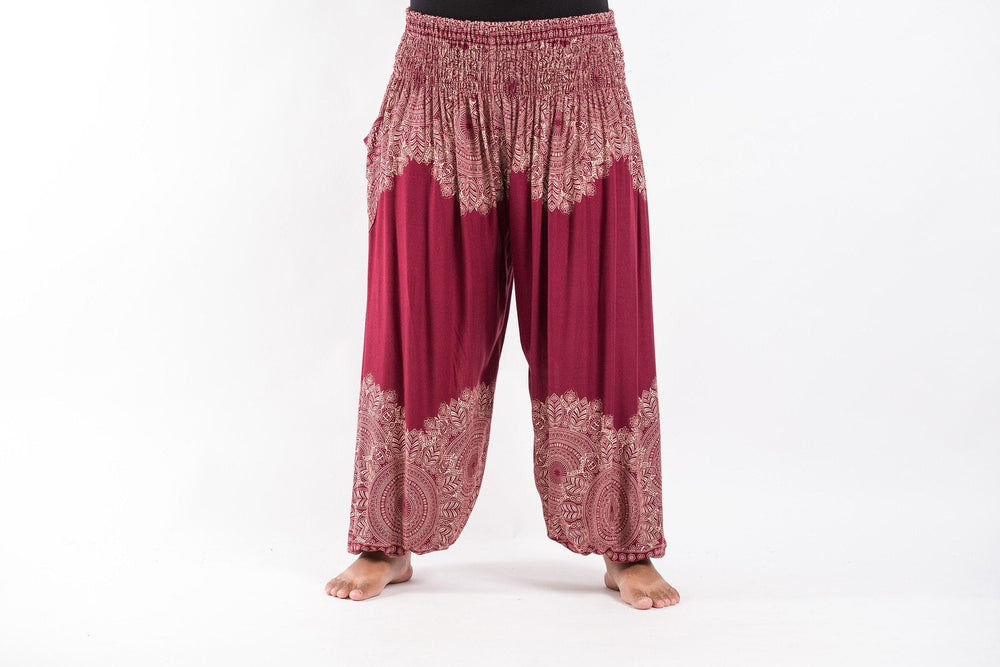 Plus Size Floral Mandalas Red Yoga Harem Pants