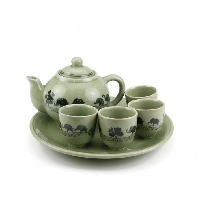 Elephant Painted Handmade Tea Set