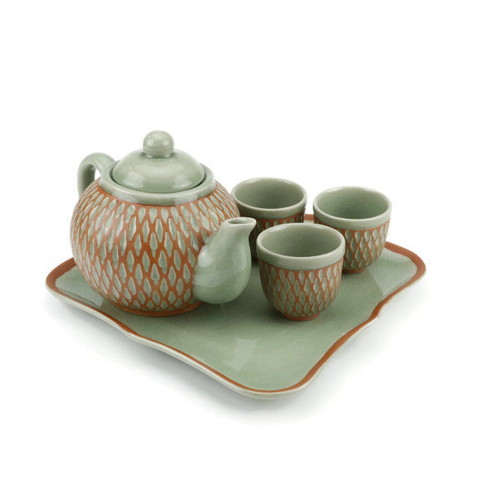 Orange Diamond Handmade Tea Set