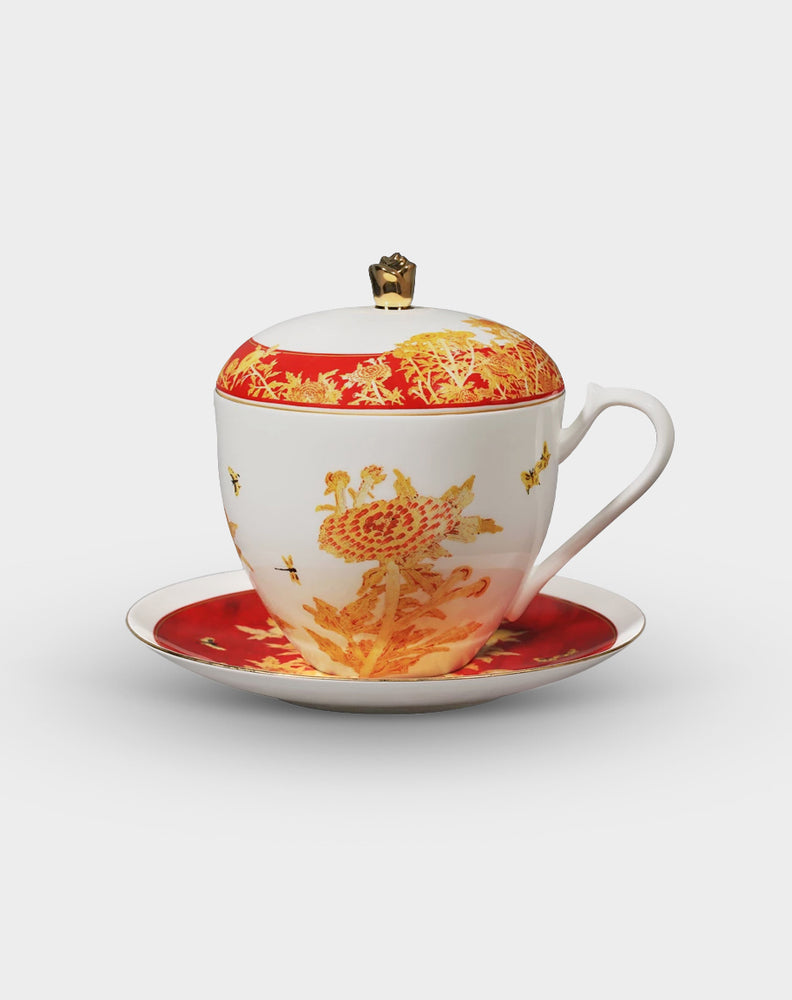 Chrysanthemum Bone China Coffee Cup Set with Lid