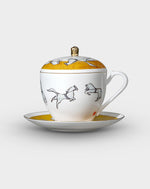 Beijing Circus Bone China Coffee Cup Set with Lid