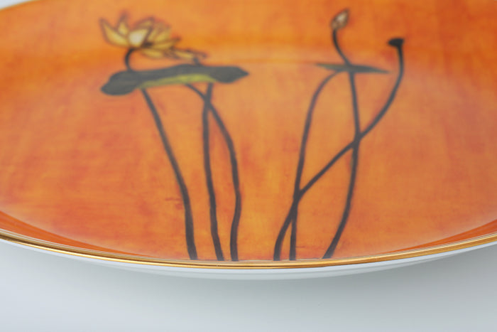 "Lotus II 12"" Bone China Gold Transfer Round Plate"