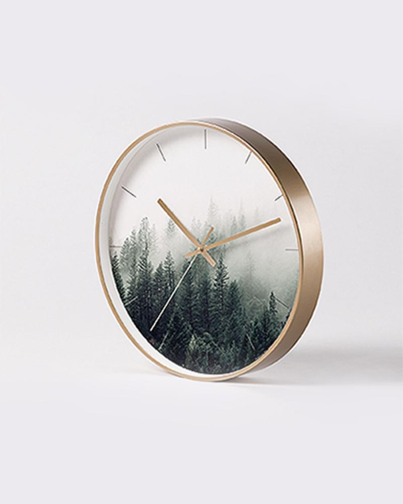 Copper White Green Art Wall Clock