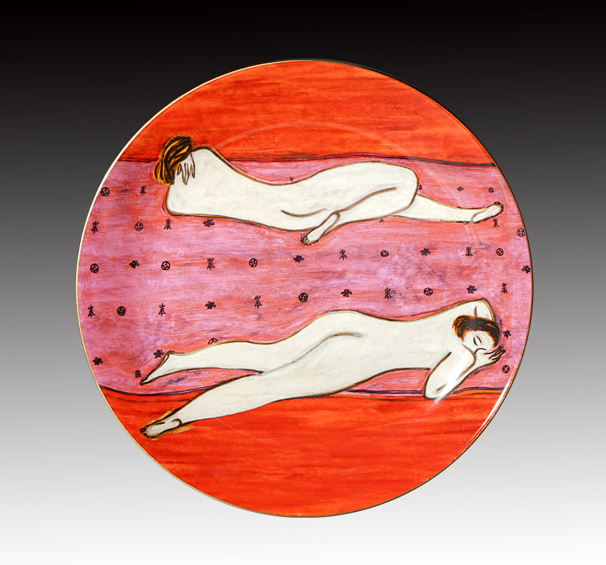 "Two Nudes 12"" Bone China Gold Transfer Round Plate"