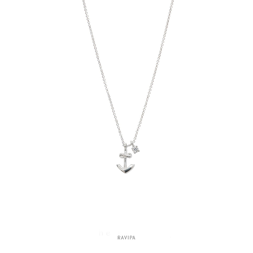 White Gold Plated Silver Anchor Necklace