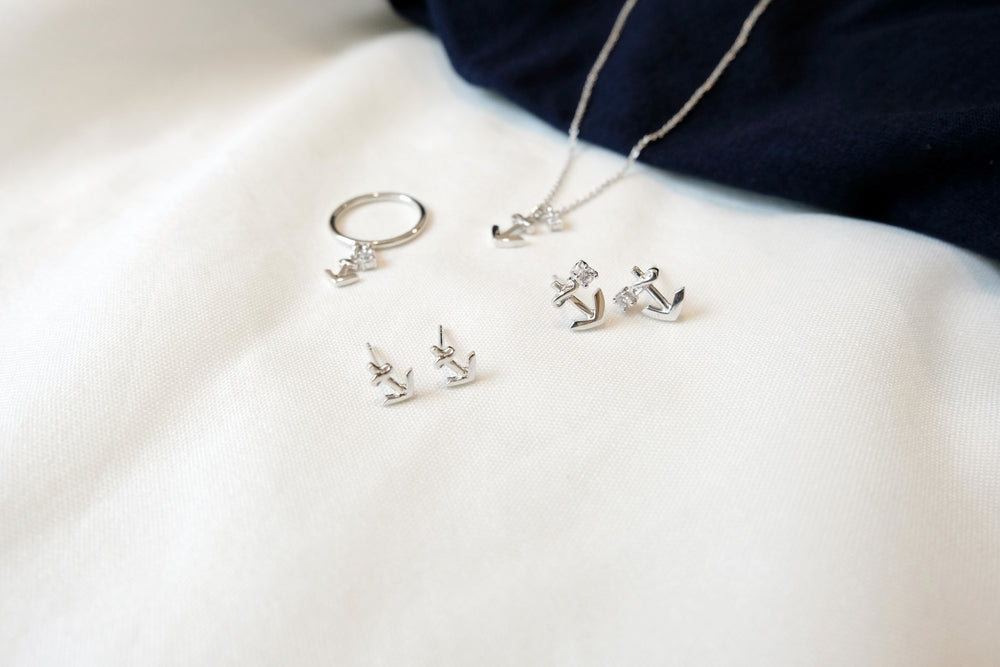 Anchor White Gold Plated Silver Stud Earrings