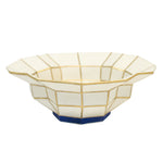 Bijan White Navy Medium Handmade Stoneware Bowl